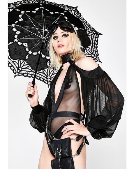 Madame Noir Plunging Bodysuit