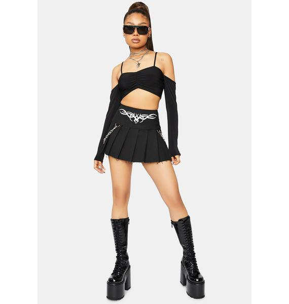 Heads Will Roll Cold Shoulder Crop Top