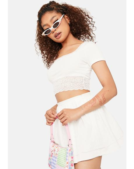 Ivory Define My Love Lace Crop Top