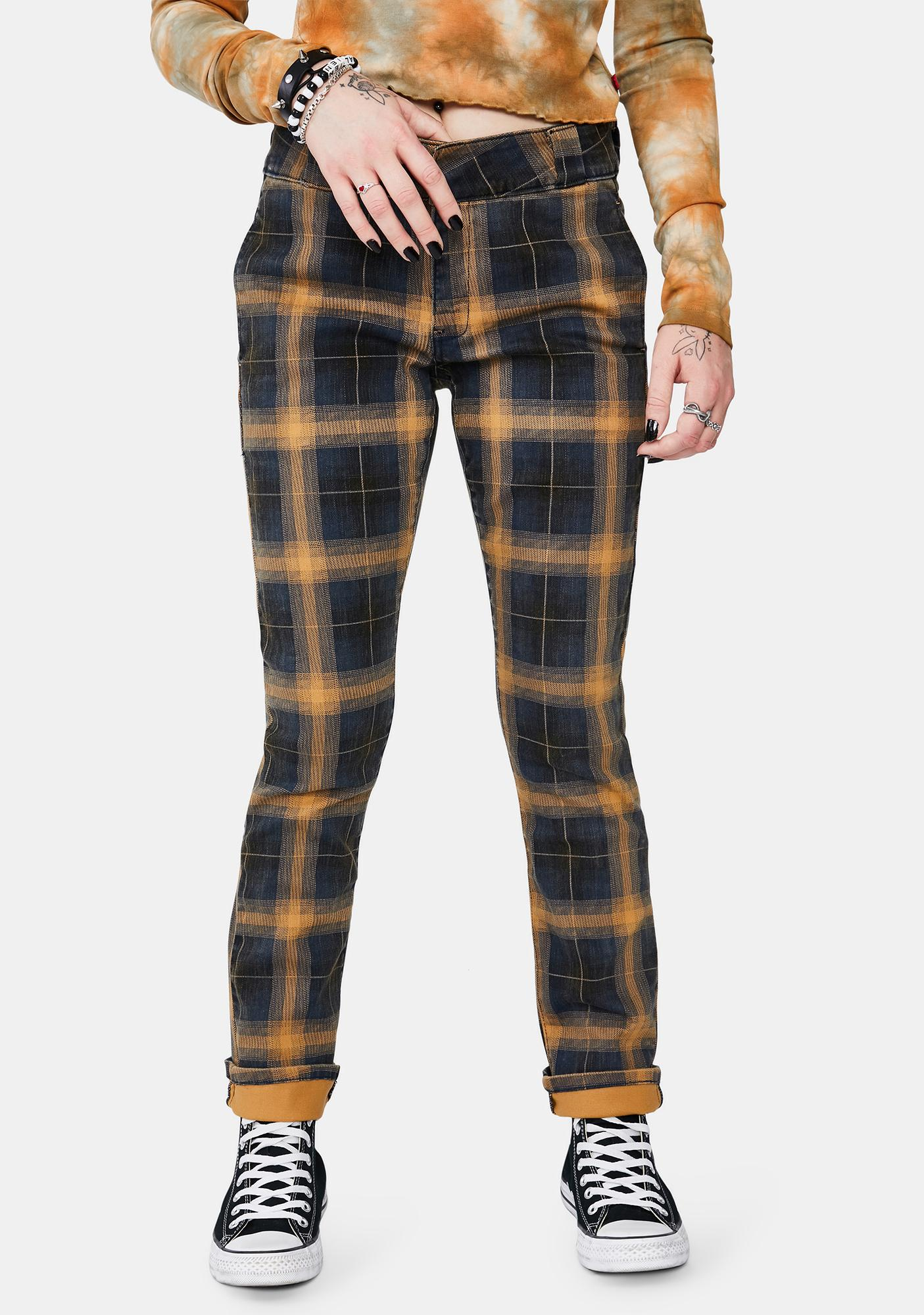 Dickies Girl Brown Duck Plaid Work Pants