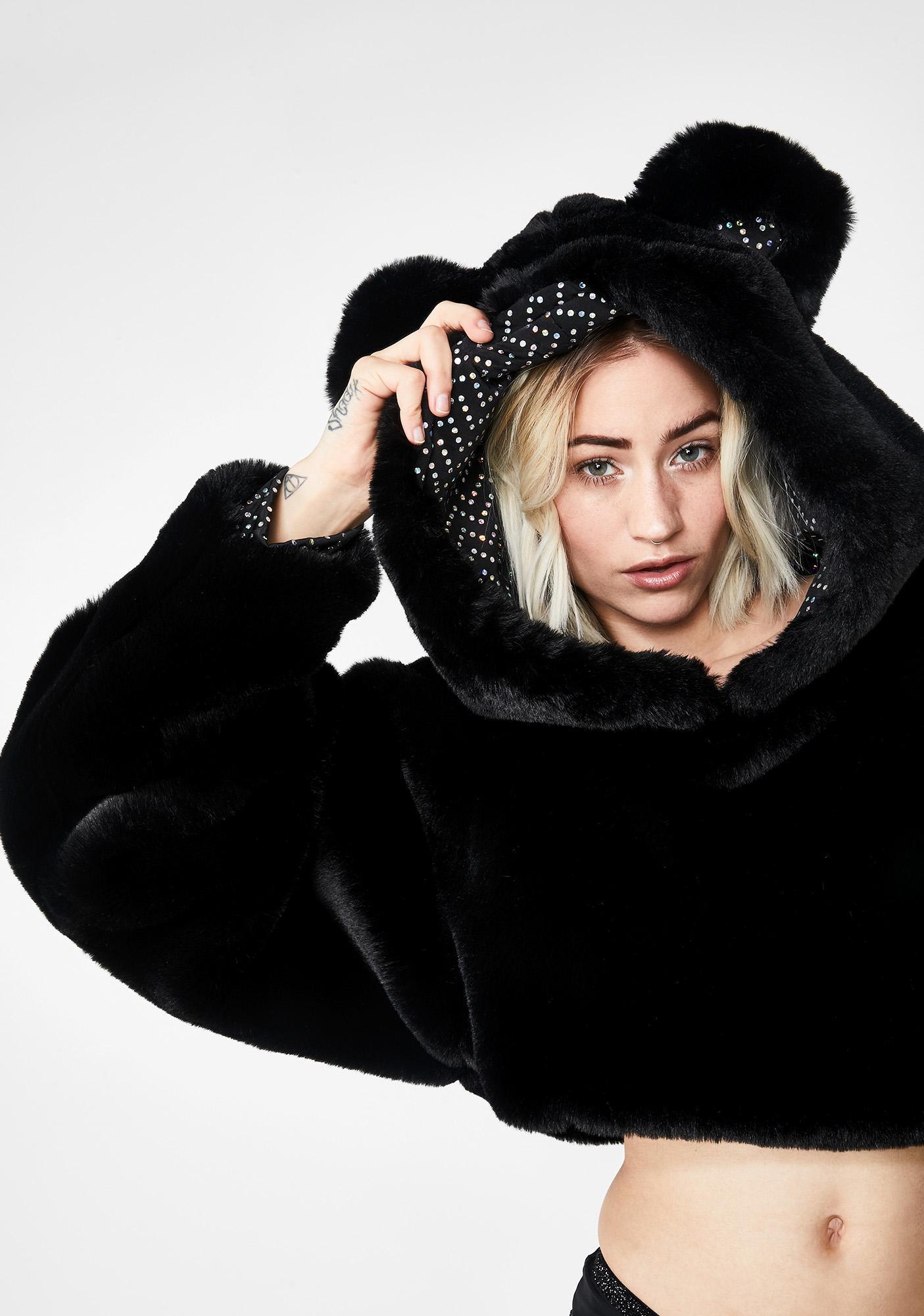 Club Exx Luna Bear Necessities Cropped Hoodie