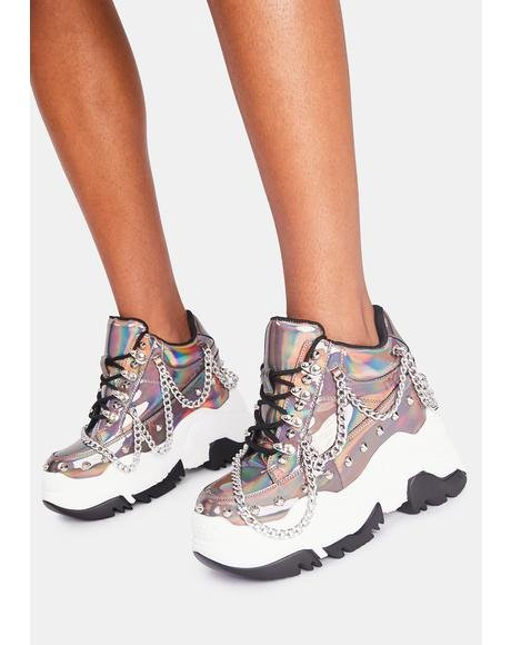 Pewter Space Candy Platform Sneakers