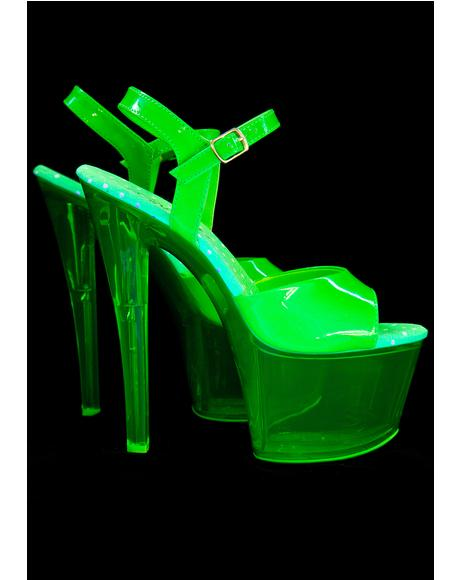 Slime Glow In The Dark Platform Heels
