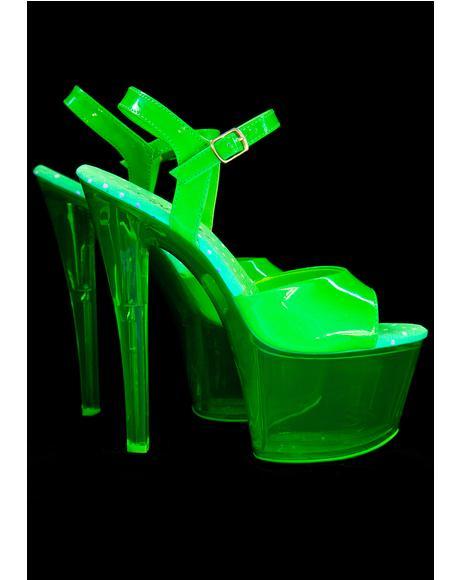 Slime Glow In The Dark Platform Heels