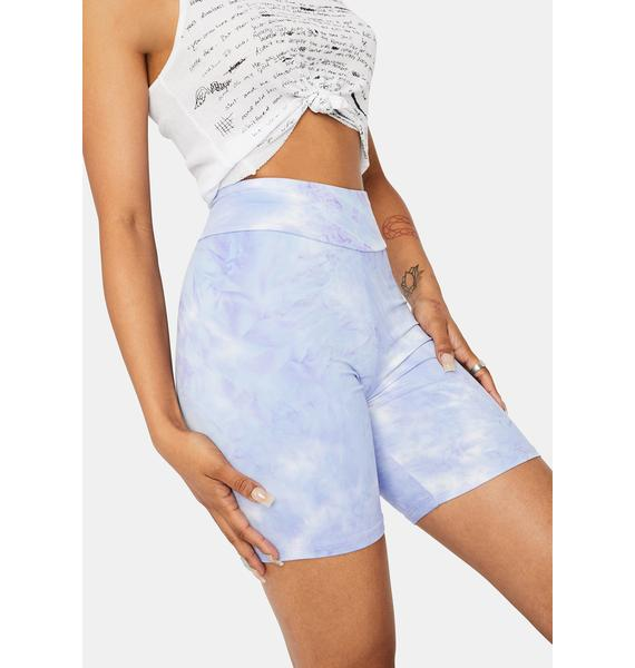 Periwinkle Chiller Vibes Tie Dye Biker Shorts