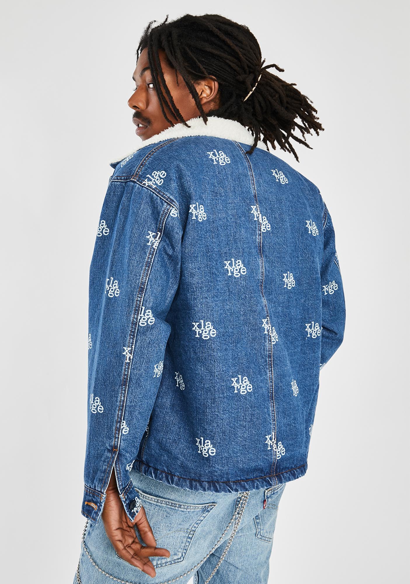 XLARGE Light Indigo Logo Denim Boa Jacket