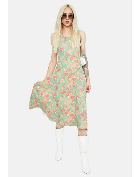 Flower Goddess Floral Halter Midi Dress