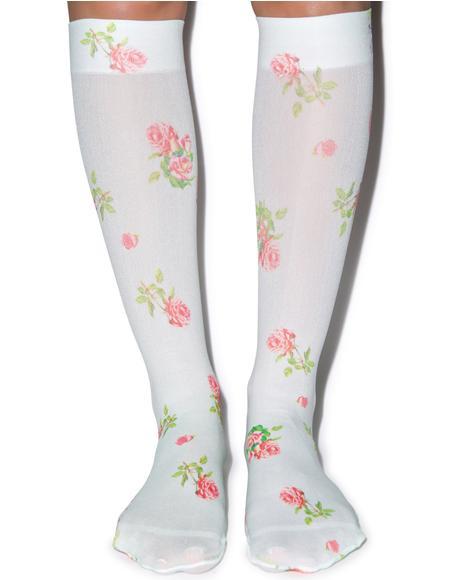 Vintage Rose Knee High Sox