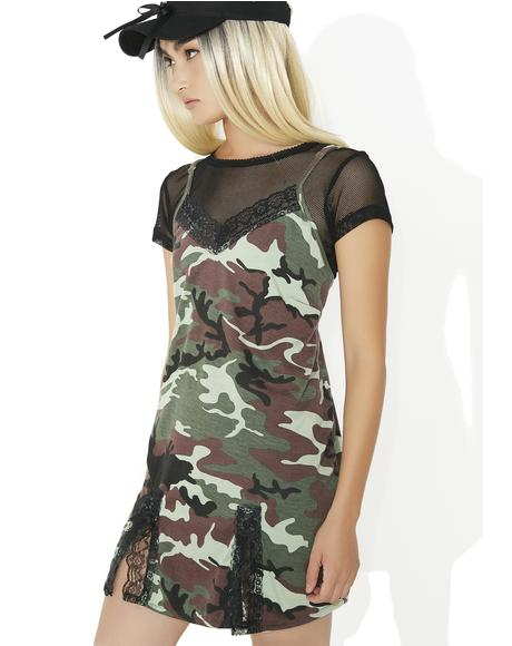 Green Camo Babydoll Dress