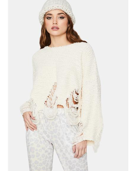 Ivory Disaster Awaits Distressed Crop Sweater