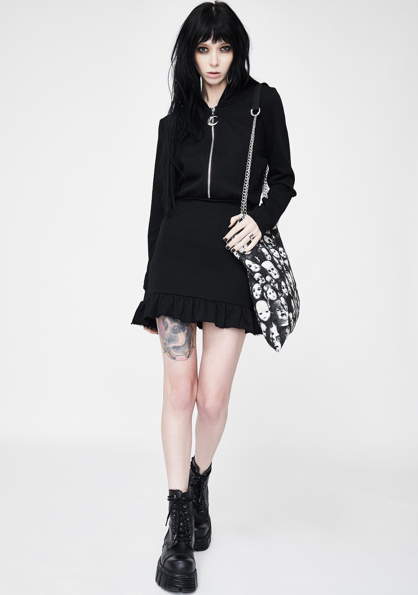 Punk Rave Dark Hooded Lotus Leaf Pendulum Dress
