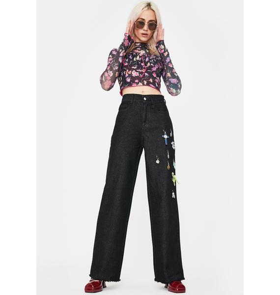 No Dress Black Floral Suit Top