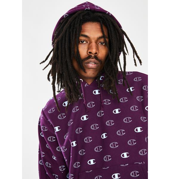 Champion Purple All Over Print Reverse Weave Hoodie