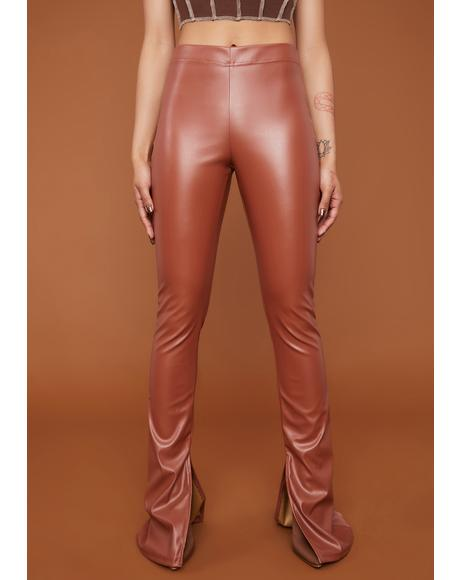 See Me Trending Vegan Leather Slit Pants