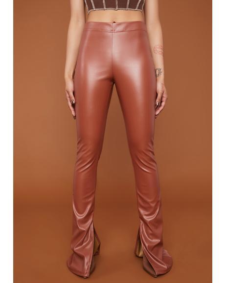 See Me Trending Vegan Leather Slit Pants