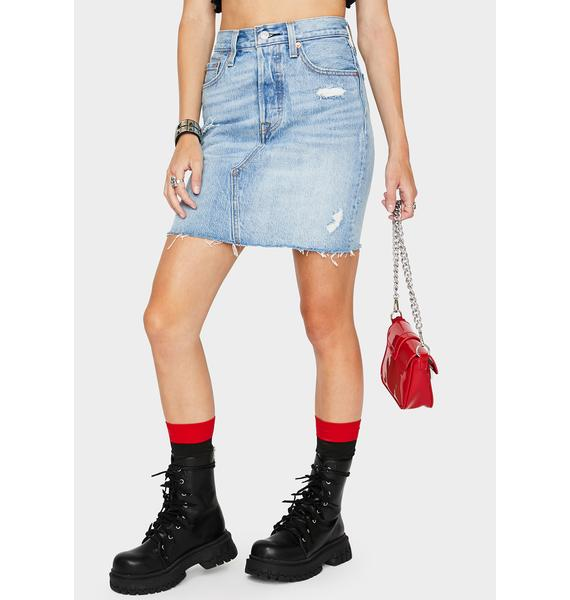 Levis Gateway High Rise Deconstructed Mini Skirt