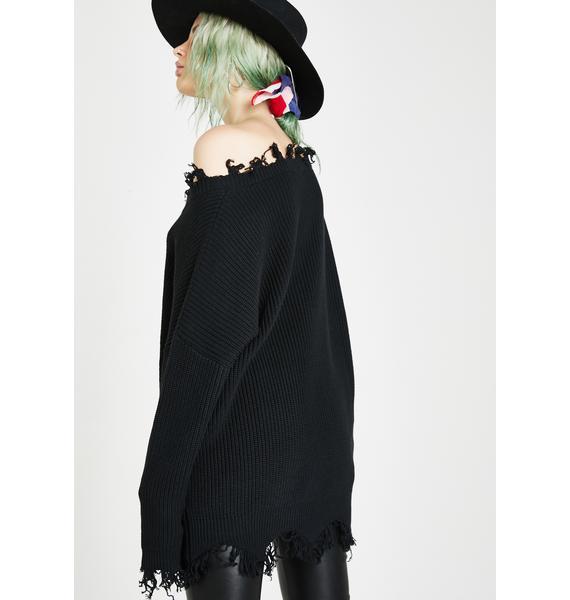 Current Mood Vile Vendetta Distressed Sweater