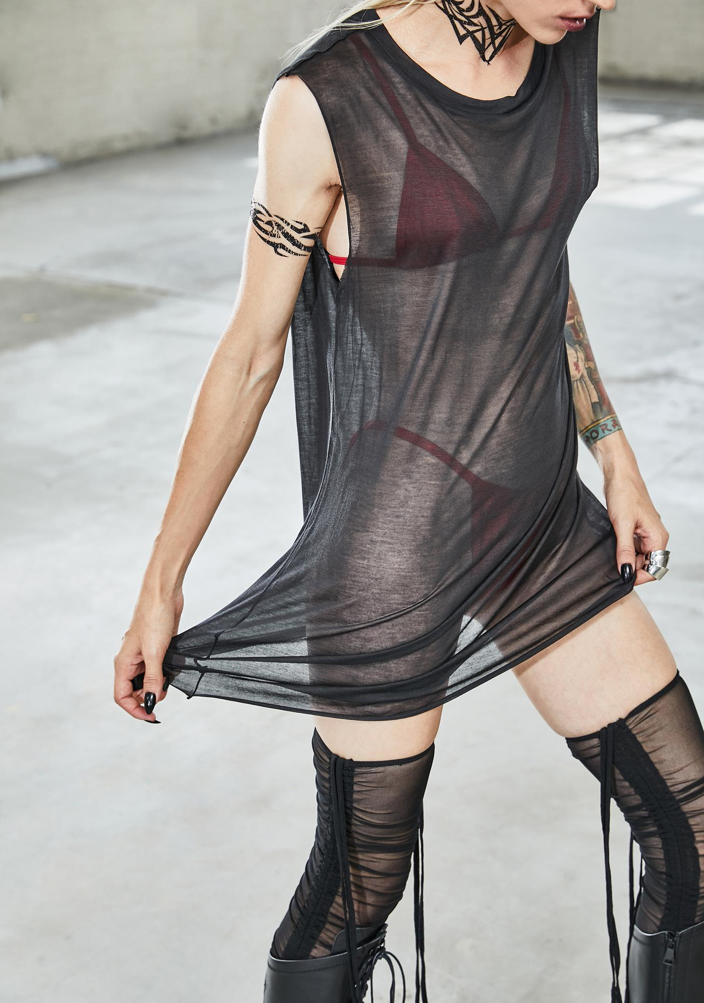 DARKER WAVS Bassline Sheer Tank Top
