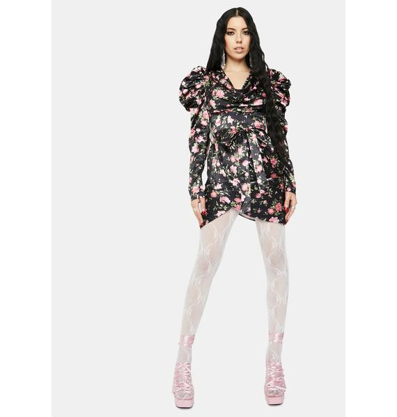 RARE LONDON Floral Print Satin Wrap Mini Dress