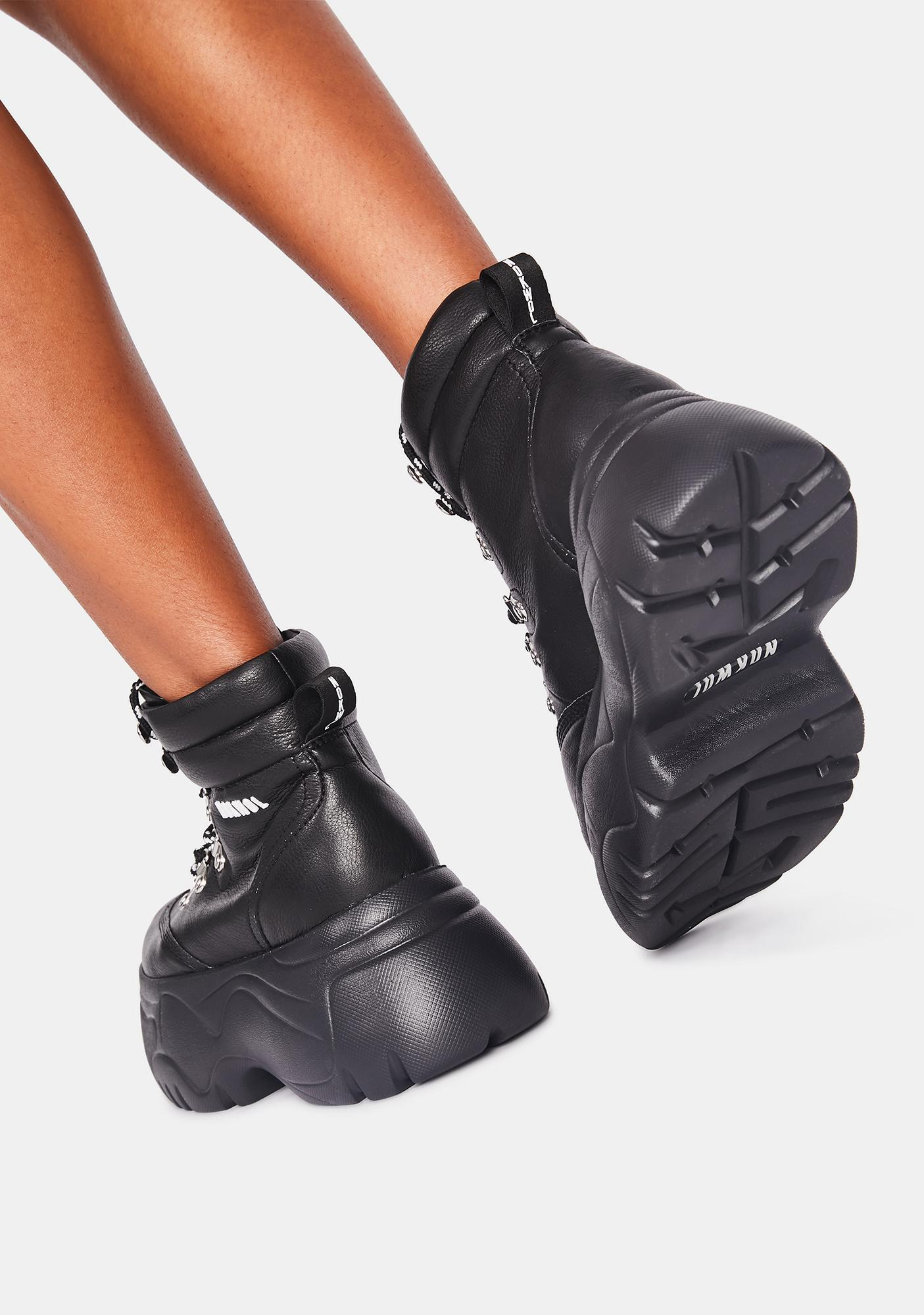 NOKWOL Black Scared Platform Sneakers