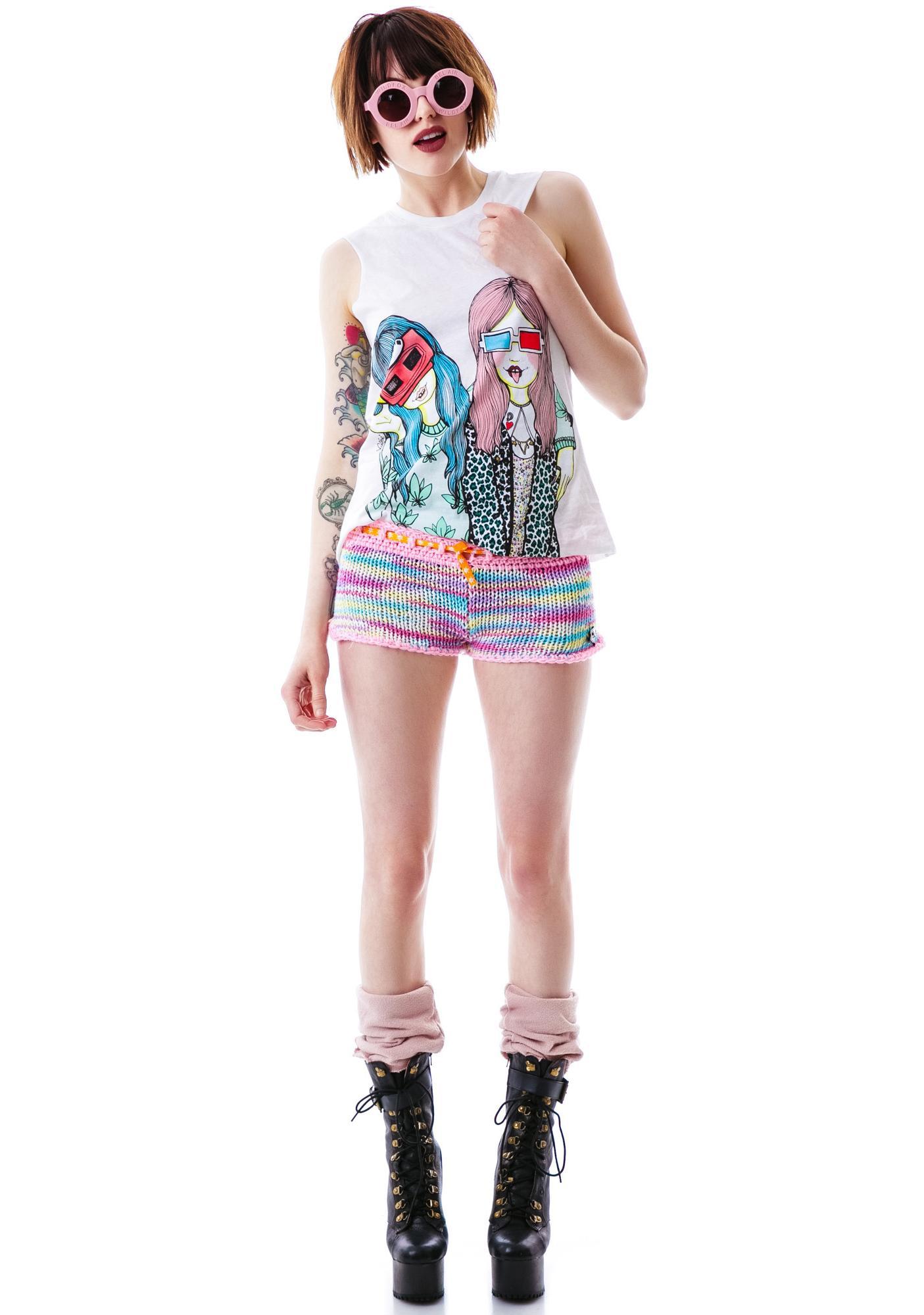Pastel Princess Rainbow Knit Shorts