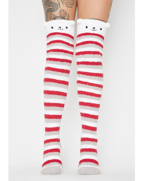 Beary Jolly Striped Long Socks