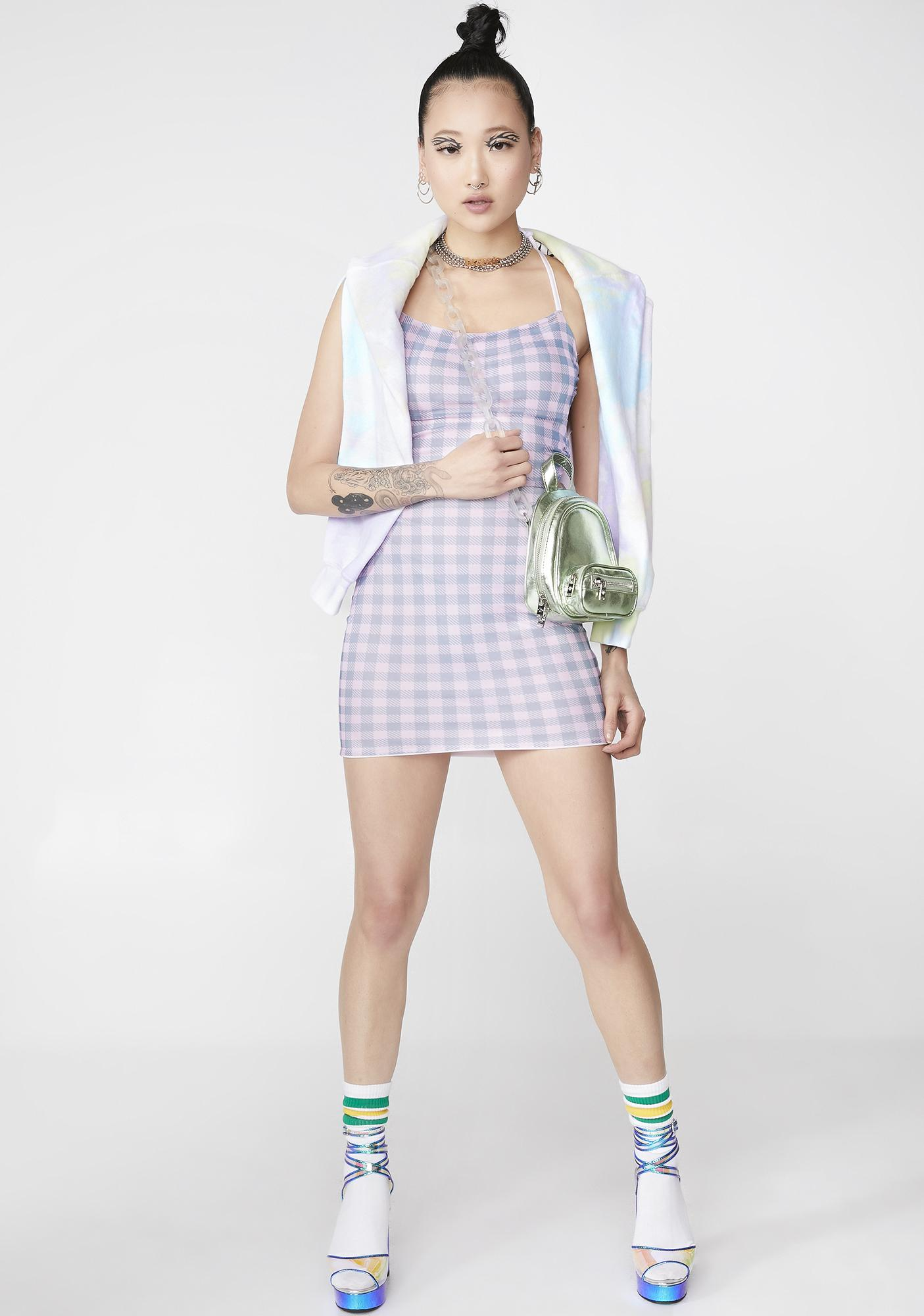 NEW GIRL ORDER Tie Back Gingham Dress