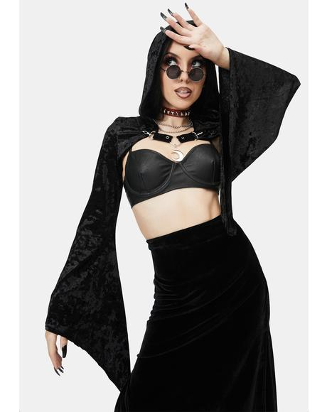 Cropped Hooded Lace Cape
