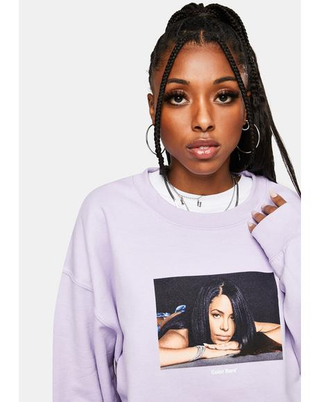 x Aaliyah Orchid Reflect Crewneck