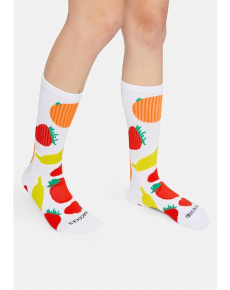 Mixed Fruit White Crew Socks