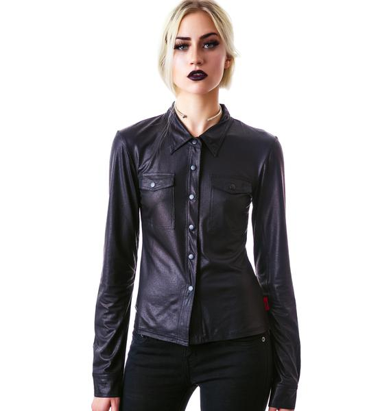 Eternal Damnation Faux Leather Blouse