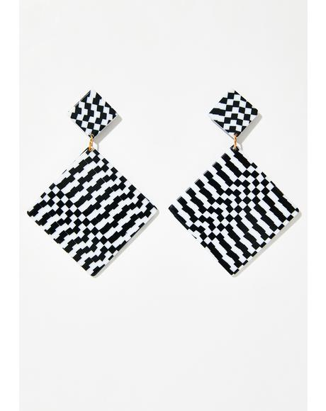Square Deal Checkered Earrings