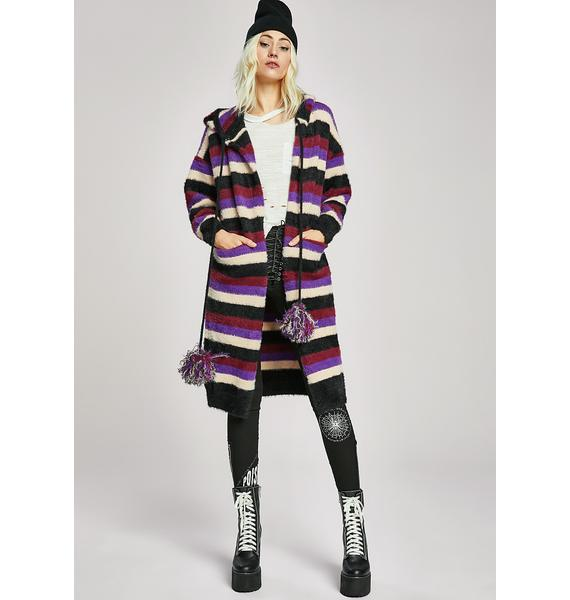 Hooded Stripe Longline Cardigan | Dolls Kill