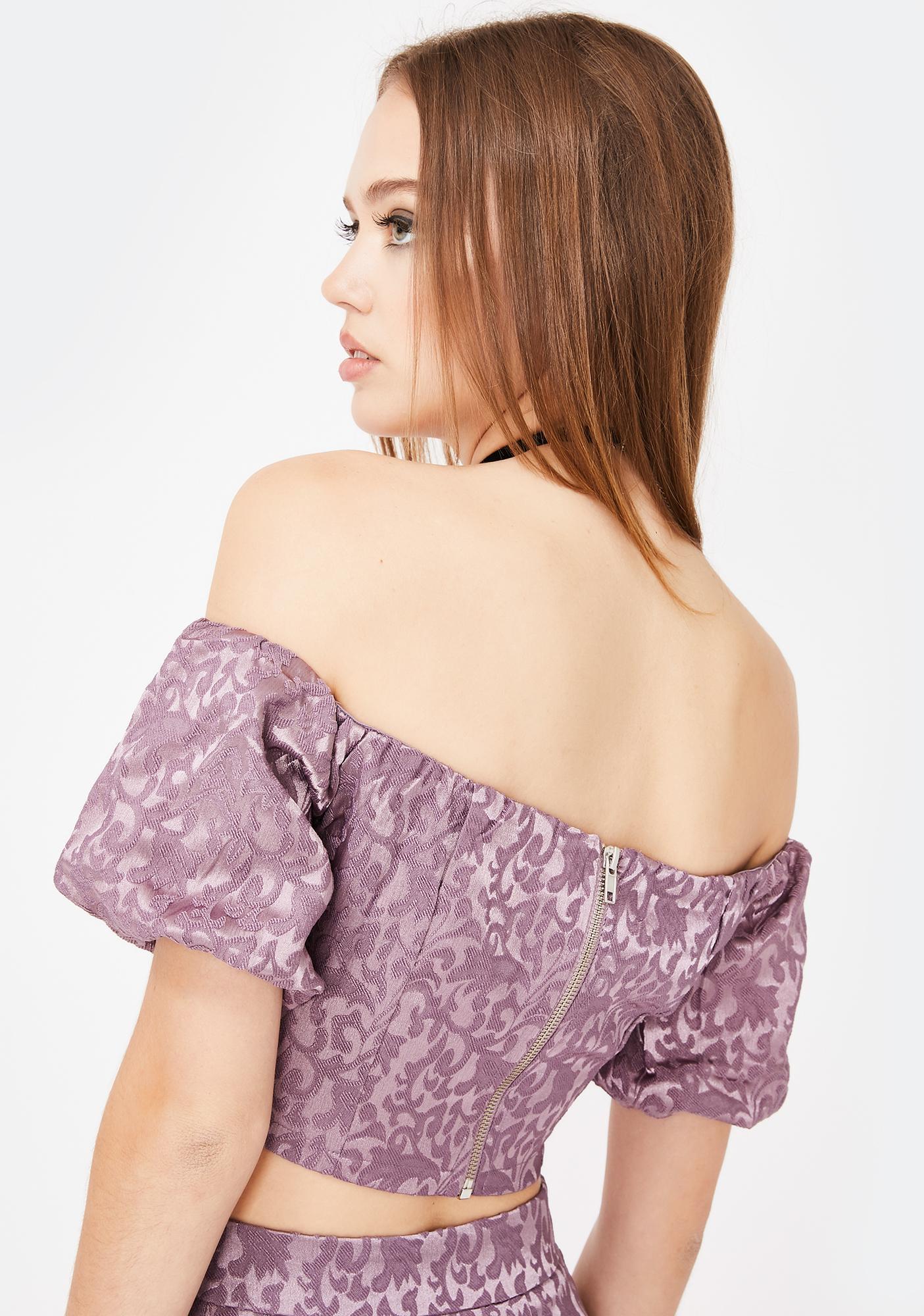 Glamorous Dusty Purple Jacquard Crop Top