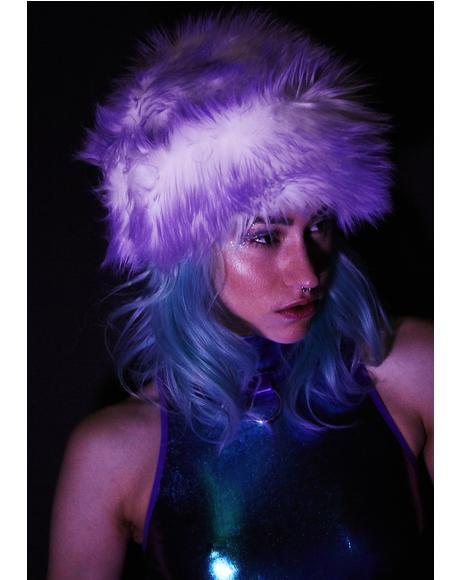 Lilac Faux Fur Cap