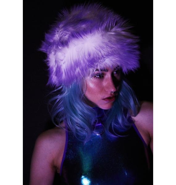 J Valentine Lilac Faux Fur Cap