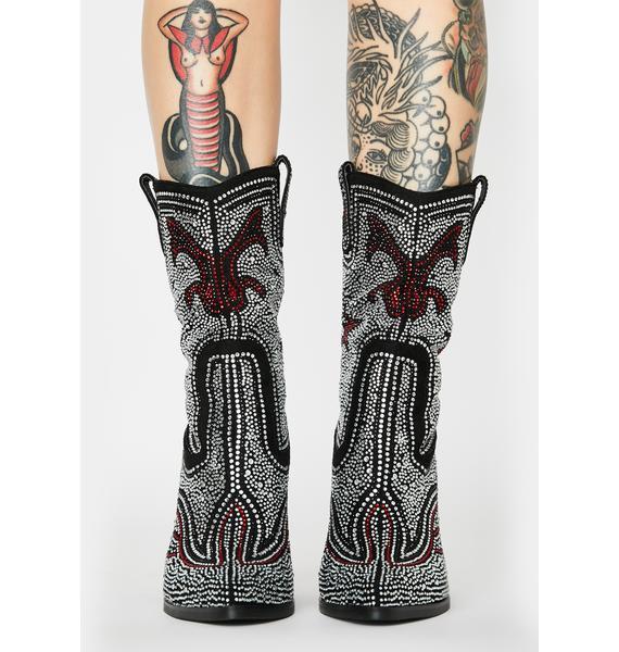 AZALEA WANG Hype Me Up Rhinestone Cowboy Boots