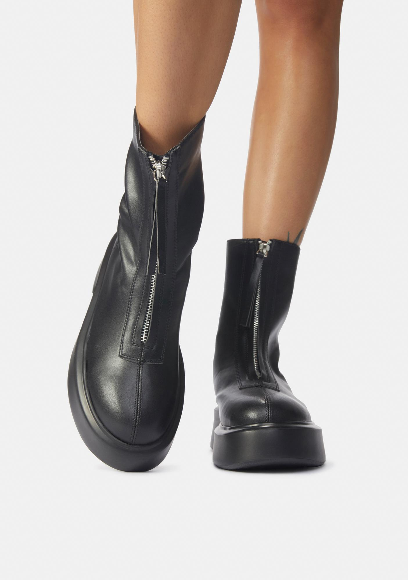 Public Desire Black Leoni Zip Up Ankle Boots