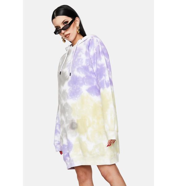 Criminal Damage Tie Dye Printed Logo Hoodie Dress