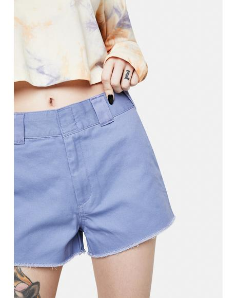 Chambray Blue High Rise Worker Shorts