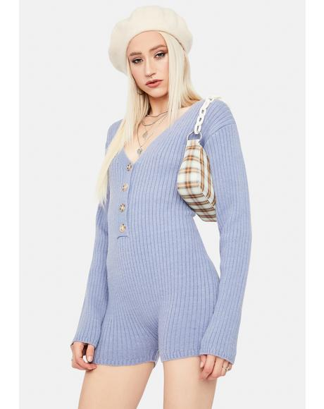 Sky Chill Takeover Knit Ribbed Romper