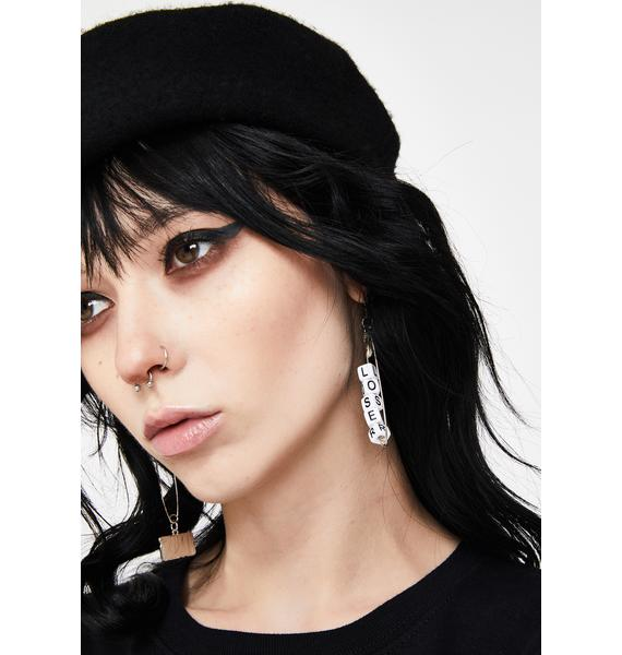 Play Again Safety Pin Earrings