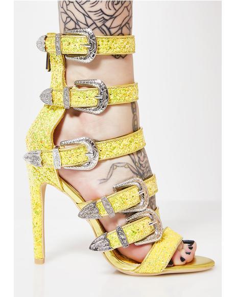 Lemon Strapped In Buckle Heels