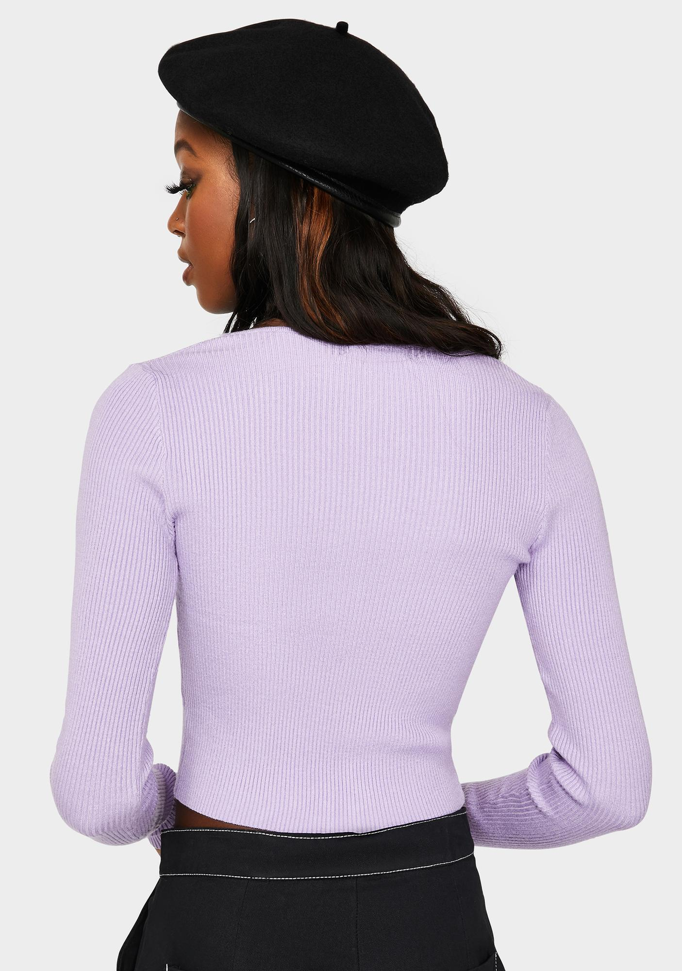 Lavender Never Settle Cropped Cardigan