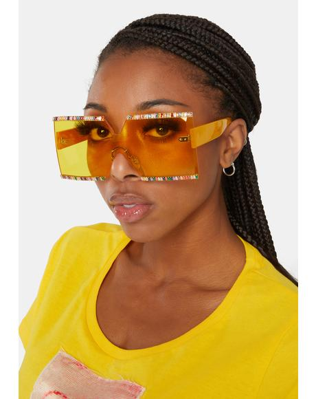 Citrus Shut Up 'N Listen Glitter Shield Sunglasses