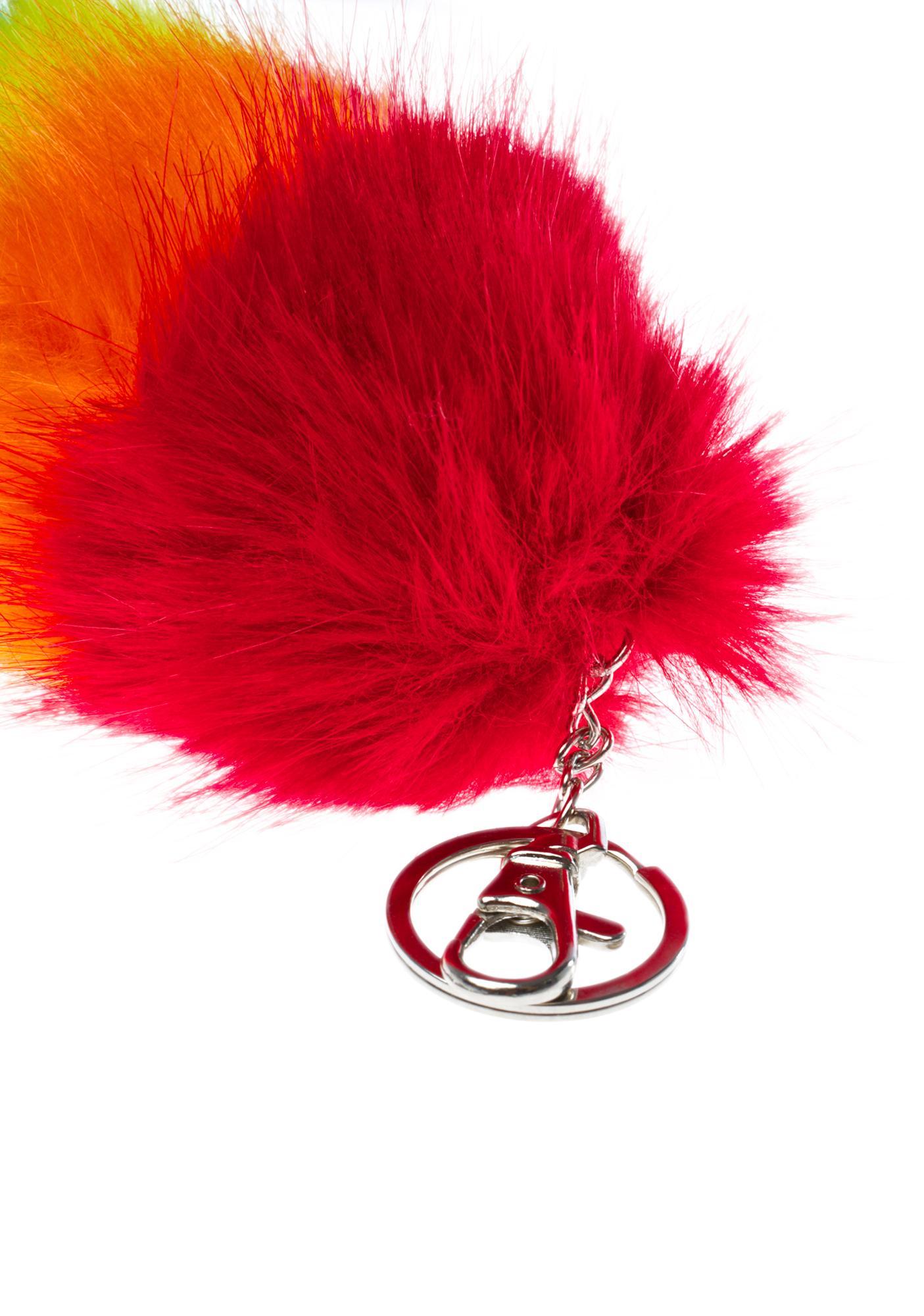 Proud Faux Foxtail Keychain