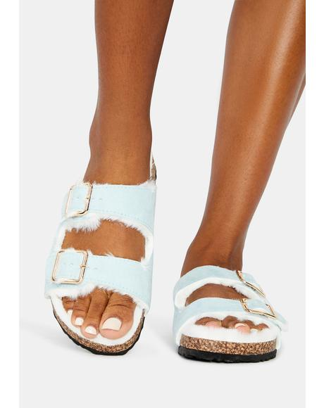 Chill Lazy Days Fuzzy Buckle Slides