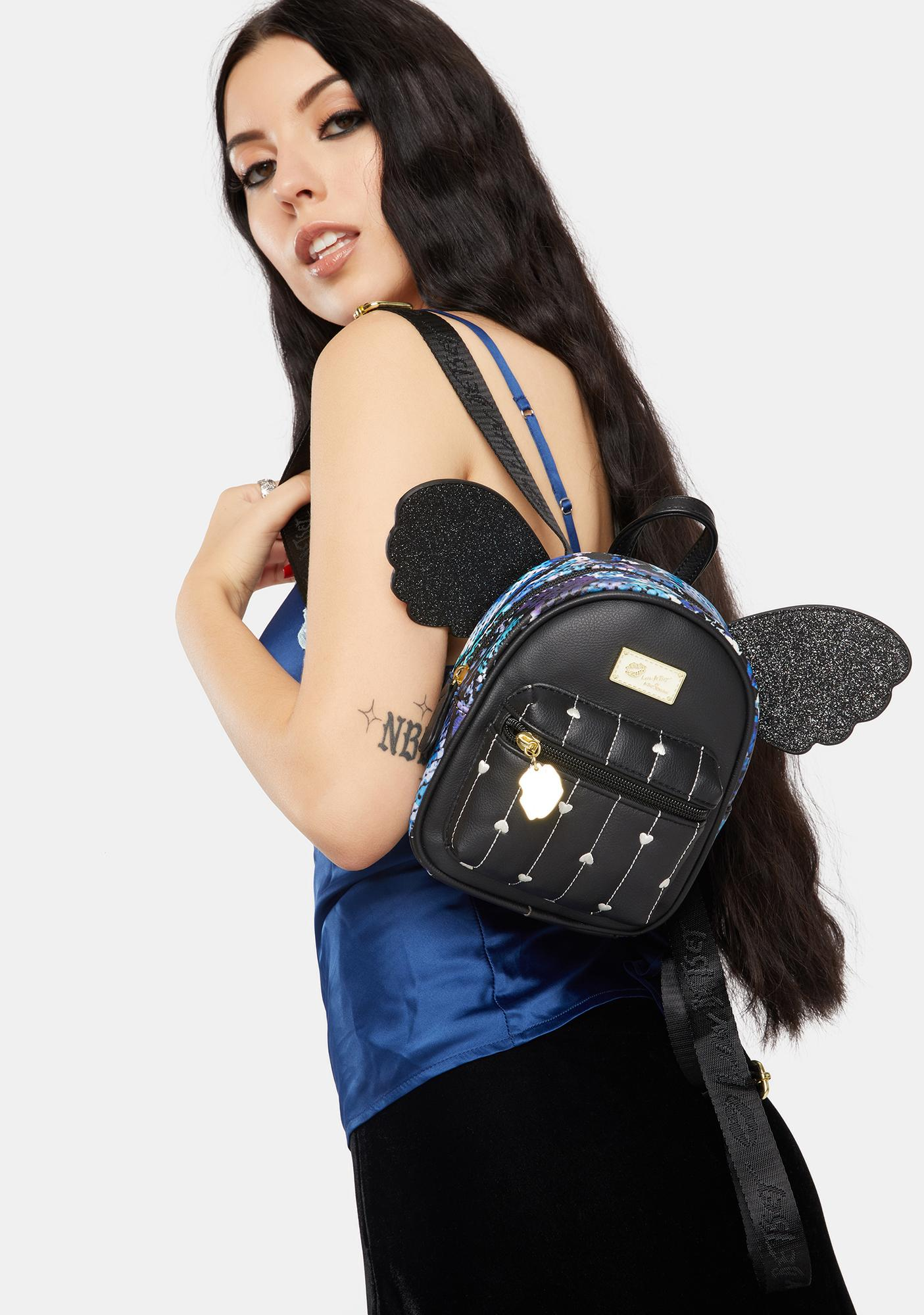 Betsey Johnson Snakeskin Jessie Mini Winged Backpack