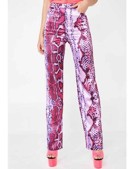 Rodeo Satin Pink Straight Leg Trousers