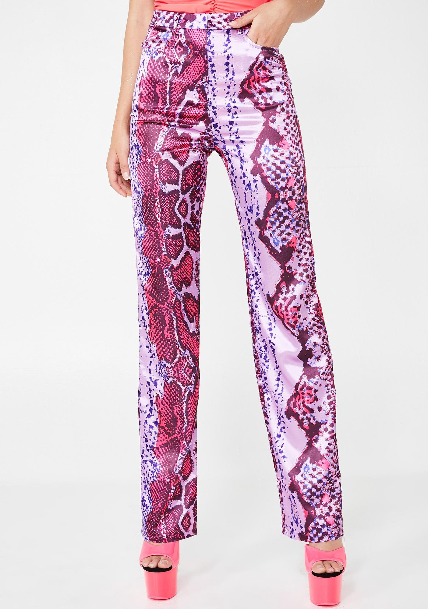 8e1eb04af8b77 Elsie   Fred Rodeo Satin Pink Straight Leg Trousers